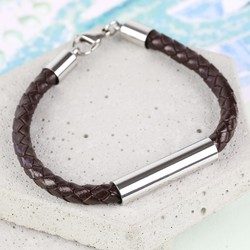 Men's Brown Leather Tube Bracelet