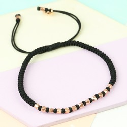 Matt Rose Gold Faceted Bead & Knot Bracelet in Black
