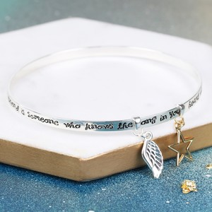 'A Friend Is Someone..' Meaningful Words Charm Bangle Silver