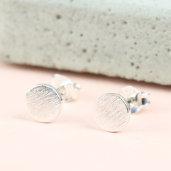 Round Textured Sterling Silver Stud Earrings