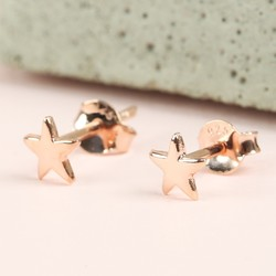Tiny Rose Gold Plated Sterling Silver Star Stud Earrings