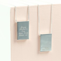 Personalised Message Longline Silver Ingot Necklace