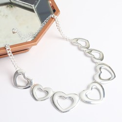 Silver Open Hearts Statement Necklace