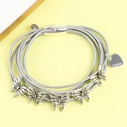 Grey Multi-Strand Silver Butterfly Bracelet with Name