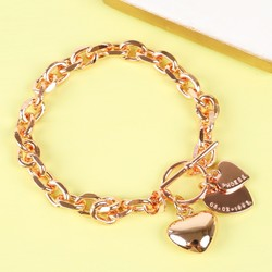 Personalised Heart Links Charm Bracelet