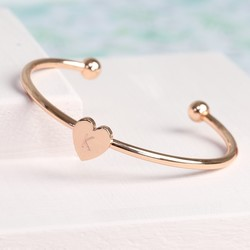 Rose Gold Heart Bangle