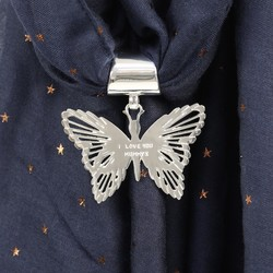 Personalised Silver Filigree Butterfly Scarf Ring