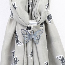 Silver Filigree Butterfly Scarf Ring