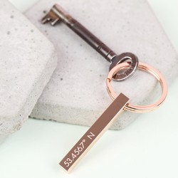 Personalised Shiny Rose Gold Bar Keyring