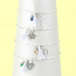 Silver Birthstone and Tassel Bracelet with Initial Charm