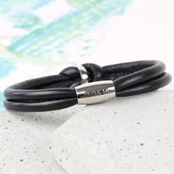 Men's Engraved Black Leather Knot Bracelet