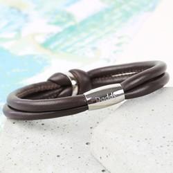 Men's Engraved Brown Leather Knot Bracelet