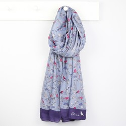 Personalised Dark Blue Bird and Blossom Scarf
