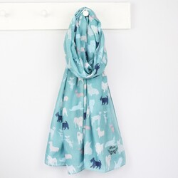 Personalised Illustrated Dog Scarf in Teal