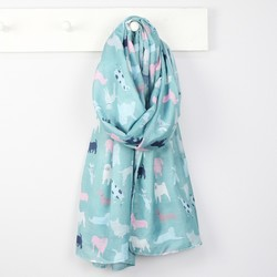 Illustrated Dog Scarf in Teal