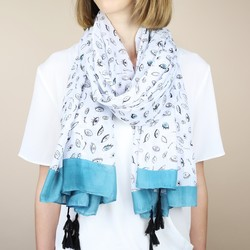 White and Teal Eye Scarf