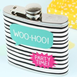 Personalised Happy Jackson 'Woo-Hoo' Hip Flask