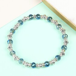 Delicate Blue Gem and Silver Bead Bracelet