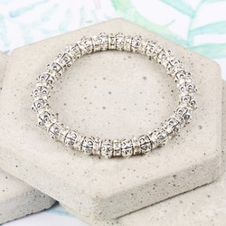 Round Silver and Crystal Bead Bracelet