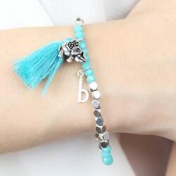 Turquoise and Silver Elephant Charm Bracelet