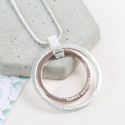 Personalised Longline Mixed Metal Double Circle Necklace