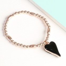 Beaded Stretch Black Resin and Rose Gold Heart Bracelet