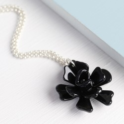 Acrylic Rose Necklace in Black