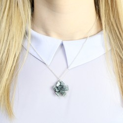 Acrylic Rose Necklace in Grey