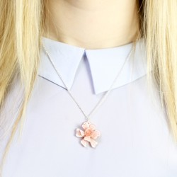 Acrylic Rose Necklace in Dusky Pink