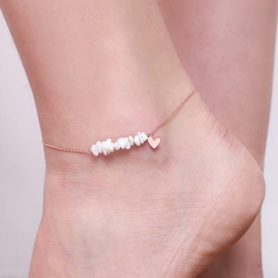 Rose Gold White Stone Heart Anklet