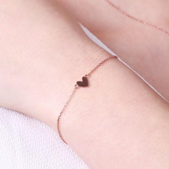 Shiny Heart Bracelet In Rose Gold