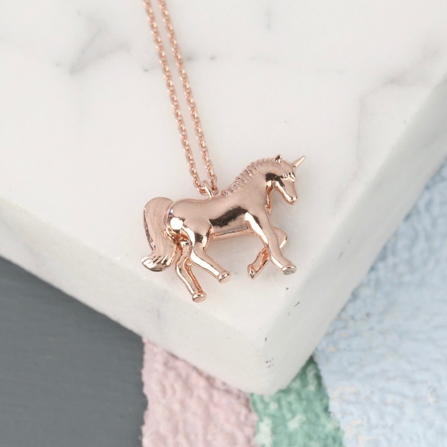 creative silver necklace pendant multicolor plated girls products jewelry colorful for item gift little unicorn myshape