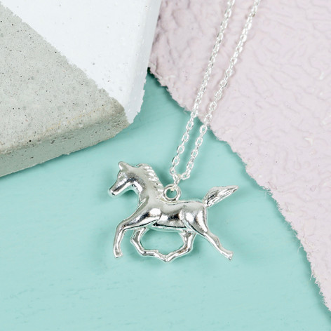 Silver horse necklace fashion jewellery lisa angel silver horse necklace mozeypictures Image collections