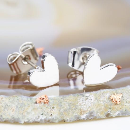 Shiny Heart Earrings In Silver