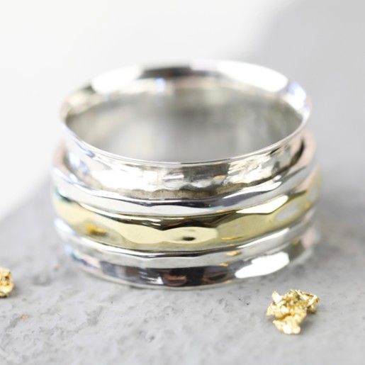 Sterling Silver Gold Hammered Effect Spinning Ring Lisa Angel