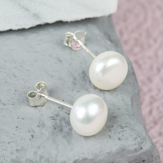 Ivory Sterling Silver Freshwater Pearl Earrings