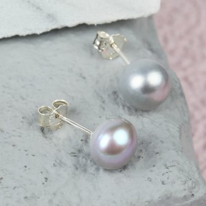 Grey Sterling Silver Freshwater Pearl Earrings