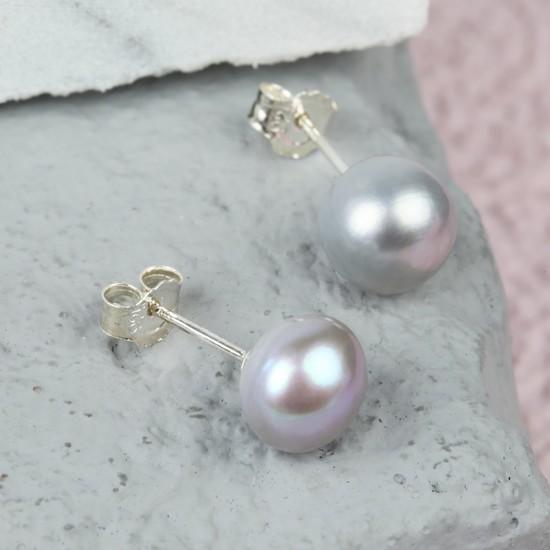 Grey Sterling Silver Freshwater Pearl Earrings
