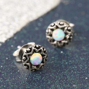 Vintage Sterling Silver Opal Stud Earrings