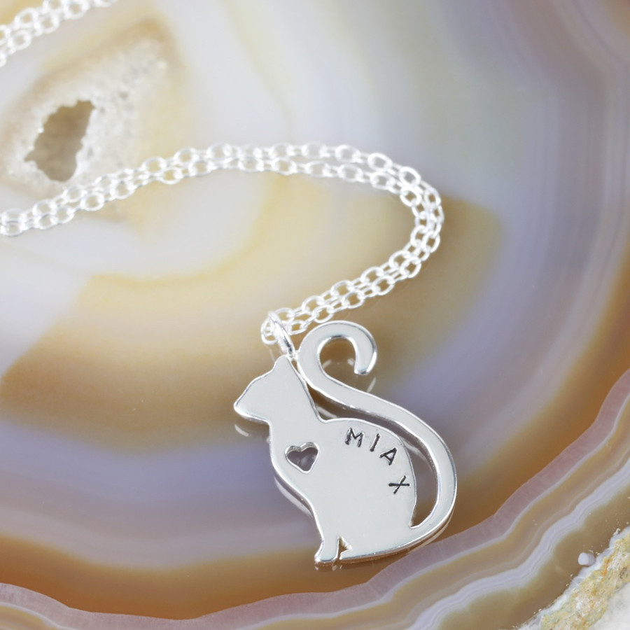 Personalised sterling silver cat pendant necklace lisa angel aloadofball Gallery