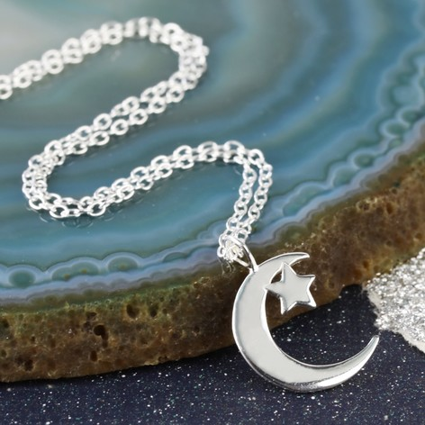 Sterling silver moon and star necklace lisa angel jewellery sterling silver moon and star necklace aloadofball Choice Image
