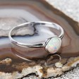 Ladies' Sterling Silver and Round Opal Ring