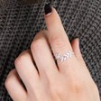 Ladies' Sterling Silver Cubic Zirconia Leaf Ring on Model