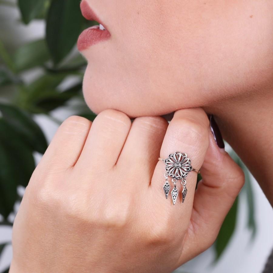 Sterling Silver Flower Dreamcatcher Ring   Lisa Angel Jewellery