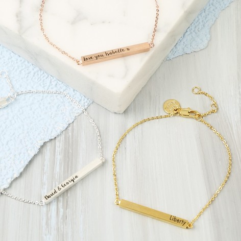 fearlessbracelet skinny name bar product custom gold bracelet