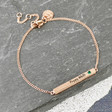 Personalised Rose Gold Swarovski Birthstone Bar Bracelet