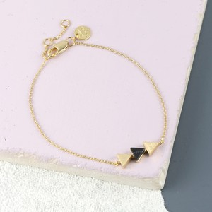 Black Marble Triple Triangle Bracelet in Gold