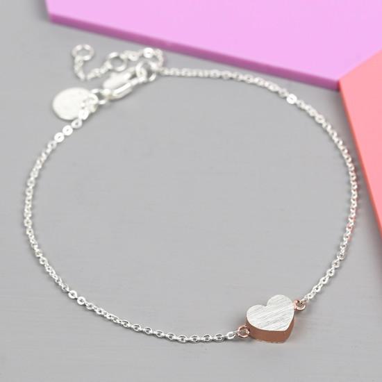 Brushed Silver & Rose Gold Heart Bracelet