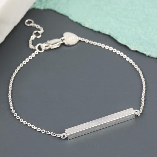 Horizontal Bar Bracelet in Silver
