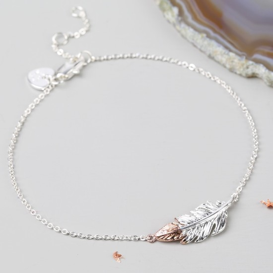 Silver and Rose Gold Dipped Feather Bracelet